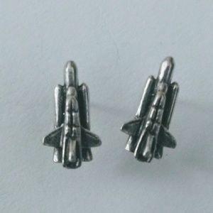 925 Space Shuttle Stud Earrings